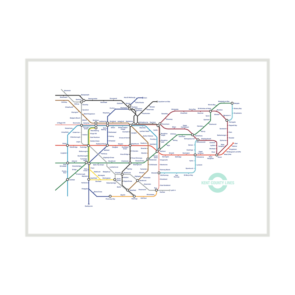 Unframed Kent Lines London Underground tube map pastiche