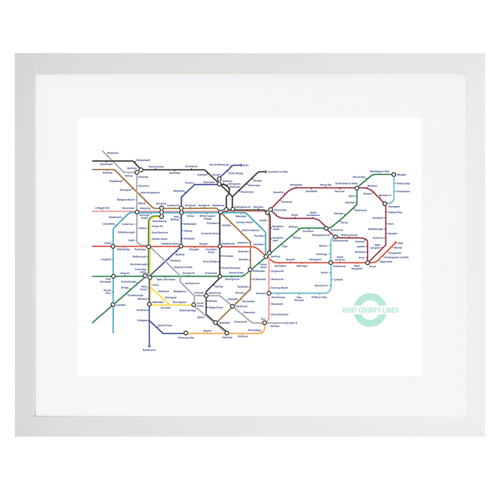 Framed Kent Lines tube map pastiche